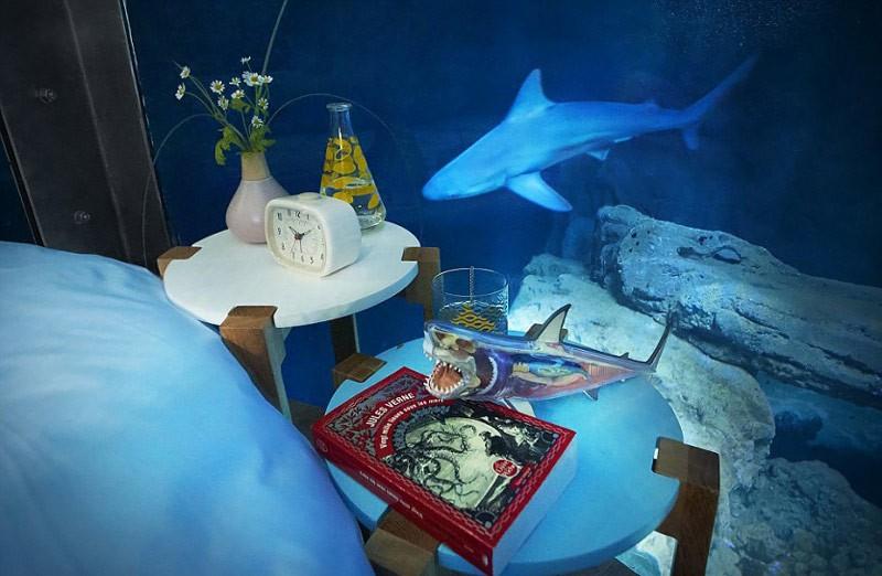 Во Франции открыли первую в мире подводную спальню с акулами